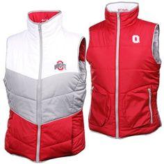 Columbia Ohio State Buckeyes Ladies White-Gray-Scarlet Triple Option Full Zip Reversible Vest