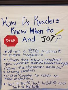 How do Readers know when to stop and jot? Nice image of an anchor chart on this topic. - My students often had confusion when it came to making their own annotations. Ideas! -JV