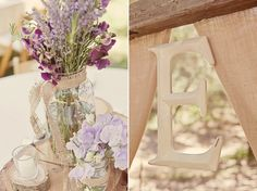Burlap and purple flowers. Twine around the mason jar in the bottom right. Not sure how I feel about the stumps.