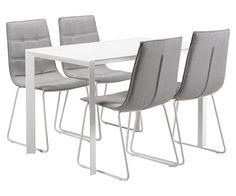SALT-ruokailuryhmä, 4:llä LIMO-tuolilla (harmaa/valkoinen)