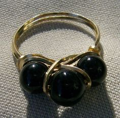 Wire Wrapped Ring  Black Onyx & Gold Size 6.25 by JewelryArtistry