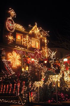 "CHRISTMAS IN DYKER HEIGHTS, BROOKLYN   * ~ Every year, residents of this largely Italian-American neighborhood in Brooklyn, decorate their front porches and yards with extravagant Christmas light displays. The ""miracle mile"" of Christmas light displays can be found on 84th Street between 10th and 12th Avenues. Over 100,000 people visit to see the full Santa, sleigh and reindeer, manger scenes, Nutcrackers, a monumental Santa and toy soldiers."