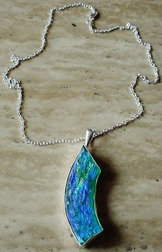 Blue Turquoise Color Roman Glass Sterling Silver Removable Pendant c/w Sterling Silver Chain - 19lg (48cm) - Sterling Silver Finish