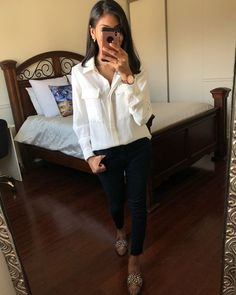 Shop the look from styleofshah on ShopStyle Backless Loafers, Cut Shirts, H&m Tops, Jeans Style, Latest Trends, Fashion Looks, Blue And White, Shirt Dress, Skinny
