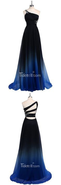 2016 long prom dresses, one-shoulder beaded prom dresses, blue ombre prom dress.Vestido largo azul con negro espalda con lazos