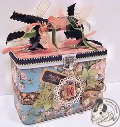 This is a beautiful altered tin using Bird Song by the one and only @Kristin Wilson featured on the Paper Crafter's Library blog today. Isn't this elegant yet fun? #graphic45