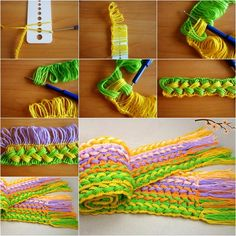 Colorful Hook Knit Scarf with Ruler