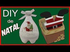 DIY de Natal, 2 dicas bem fáceis e baratas para vocês fazer em casa. Papai Noel na Chaminé e Papai Noel na garrafa. Molde na página no Facebook: https://www....