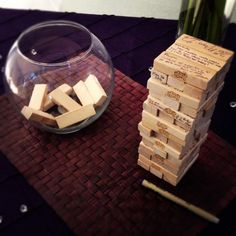"Reception Ideas - Instead of using JENGA for a wedding guestbook, use it for a ""game table"" for non-dancers. People can still sign it and draw on it but not for the primary purpose of a guest book -KS. Board Game Wedding, Wedding Games, Diy Wedding, Rustic Wedding, Wedding Planning, Dream Wedding, Wedding Day, Wedding Tips, Board Game Themes"