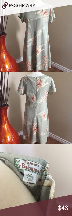 Tommy Bahama green silk dress This beautiful green dress has a tropical design and is 100% silk. Very soft. No stains or tears Tommy Bahama Dresses Midi