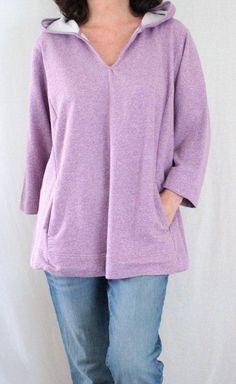 Pure Jill Cotton 3/4 Sleeve Notch Neck Hooded Chambray Sweatshirt Purple Sz 1X #JJill #HoodedSweatshirt