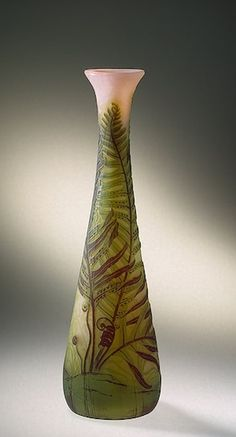 Vase Decorated with Fern Manufactory of Emile Galle France, Nancy.