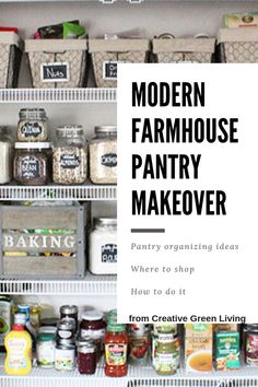 How to do a farmhouse style pantry. So many great ideas for pantry organization with crates, labels, baskets, glass jars and more. It