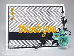 Textile Backgrounds; Sending Thanks; Thank you Die-namics; Leafy Flourish Die-namics; Rolled Rose Die-namics; Mini Rolled Roses Die-namics - Amy Rysavy