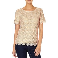 Lulu Top - This stunning inspired crochet top features short sleeves with a scallop edge hem, jersey lining and sits at high hip. A style staple, The Lulu top would look great paired with the Keats Trousers in Black for the ultimate office to party look. 1960s Inspired, High Hips, Party Looks, Crochet Top, Looks Great, Trousers, Short Sleeves, Lace, Inspiration