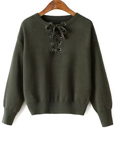 Lace-Up Round Neck Long Sleeve Sweater