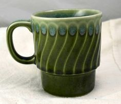 Vintage 1970's Stackable Stoneware Green Coffee Mugs Made in Japan $13.50