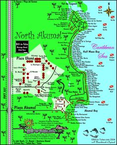 Map of Akumal and North Akumal