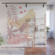 Bedroom Colour Schemes Neutral, Cafe Wall, Room Decor, Wall Decor, Mural Wall Art, Green Rooms, Tropical Leaves, Decor Interior Design, Bedroom Wall