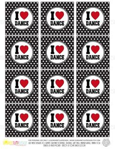 So cute for a Dance Party!  Print at home! DANCE  Printable Cupcake Toppers Sticker by sunshinetulipdesign