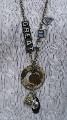 Vintage License Plate Industrial Art Necklace