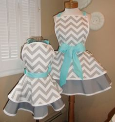 Mother and Daughter Matching Retro Apron Set in Chevron Print...Custom Order Your Sizes...Plus Sizes Available. $75.00, via Etsy.