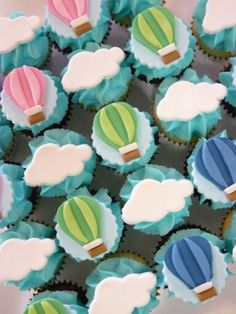 Trendy Ideas Baby Boy Shower Cakes And Cupcakes Air Balloon Baby Shower Cakes For Boys, Baby Shower Cupcakes, Baby Boy Shower, Balloon Cupcakes, Hot Air Balloon Cake, Air Ballon, Balloon Party, Cupcakes For Boys, Birthday Cupcakes