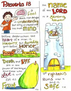 The bible 81838918209039840 - Doodle Through The Bible: Proverbs 18 Illustrated Faith Journal entry for Good Morning Girls (GMG) Bible Study, Free printable PDF Coloring page link at the website. Source by tinadillard Bible Art, Bible Scriptures, Bible Quotes, Scripture Art, Quotes Quotes, Bible Cartoon, Book Of Proverbs, Proverbs 27, Bible Study Journal