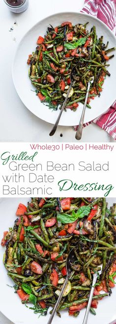 Whole30 Grilled Zucchini and Green Bean Salad - A healthy, simple, crowd-pleasing summer dish that is only 80 calories! Paleo and vegan friendly and whole30 compliant! | Foodfaithfitness.com | @FoodFaithFit