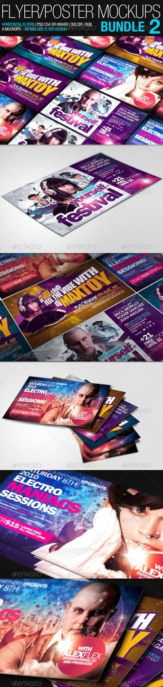 Flyer Poster Mockups Bundle 02  #GraphicRiver                  These mockup, are designed to show your awesome flyers / Poster Designs. They are easy to use and customize, use smart-objects and all the layers are organized and renamed, enjoy this new set of mockup for flyers, show your customers your great designs in a stunning and realistic way Features     Resolution: 1920×1280px    Mockup Size: 7×4 inches    Fully editable + Full layered Mockup    6 Mockups Included    Photoshop Version…