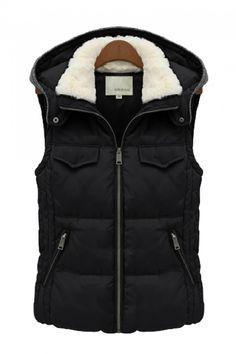 Cozy Black Stand Collar Hoodie Outdoor Vest #Cozy #Black #Outdoor #Vest #Fashion