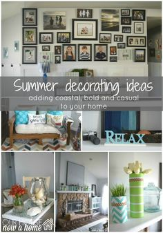 summer decorating idea title, summer home tour, sharing the coastal, rustic and bold ways to decorate a home for summer. Full of DIY projects, crafts and other lo cost ways to decorate a dream home. To see more click on the link or visit- http://ourhousenowahome.com/