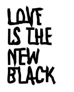 Love is the new black framed postcard via therese sennerholt