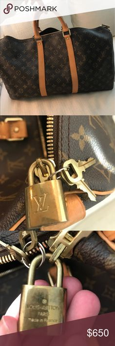 Louis Vuitton Monogram Weekend Duffle Bag In excellent condition, lightly used. Faint watermarks on the straps, as you can see in the picture. Perfect for a weekend getaway! Purchased at Louis Vuitton, 100% authentic. Louis Vuitton Bags Travel Bags