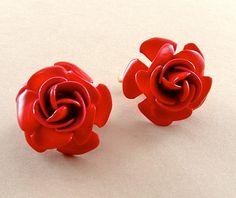 @Mase 28 Romantic Rose Earrings Vintage Enamel