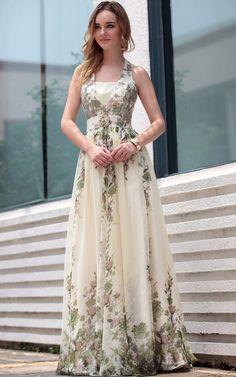 Off-white Halter Floral Print Floor Length  Gowns Evening Dress