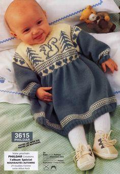 Вязание для девочек возраста от 3 месяцев до 24 месяцев платья 34 из Phildar 281, описание и схема.