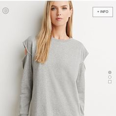 Cut-Out Shoulder Sweatshirt Dress Gray sweatshirt dress with shoulder cut-outs. Actual dress worn once. Forever 21 Dresses Mini