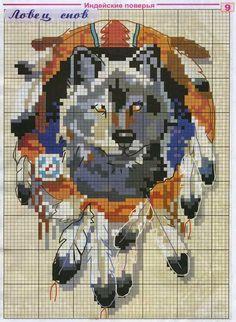 Hobby lavori femminili: schema punto croce L'acchiappasogni e il lupo
