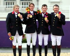 Team GB win Olympic gold in the Equestrian Team Jumping event at the London 2012 Olympics.