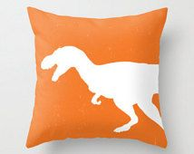 T-Rex Pillow Cover - Orange and White - Dinosaur Decorative Pillow - Accent Pillow
