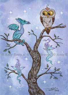 Owl and Dragon and 2 Fairies Limited Edition Print by AmyBrownArt