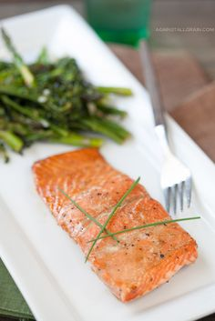 Asian Glazed Salmon with Roasted Broccolini and Asparagus - Against All Grain - Award Winning Gluten Free Paleo Recipes to Eat Well & Feel G...
