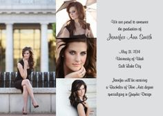Highly Sophisticated 4 Photo Graduation Announcements. #Invitations #Invites