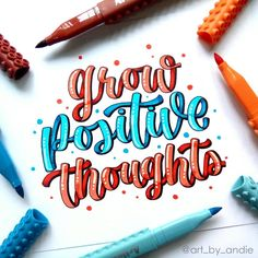 art_by_andie Have a happy weekend everyone! Let's all grow positive thoughts 😊 Calligraphy Quotes Doodles, Brush Lettering Quotes, Hand Lettering Alphabet, Watercolor Lettering, Doodle Lettering, Calligraphy Art, Inspirational Quotes Background, Happy Weekend, Happy Tuesday