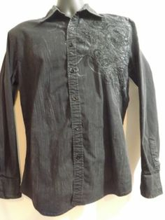 Men's ROAR Button Front Long Sleeve Size Medium Embroidered