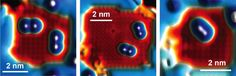 STM images positioning individual iron atoms close to each other onto a Cu2N/Cu(100)surface. STM images of different atomic geometries studied. For the linear relative orientation in the left image the magnetic anisotropy of the atoms was found to be enhanced whereas for the diagonal orientation on the right it was reduced