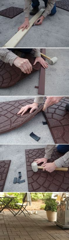If you're looking for an environmentally friendly way to spruce up your patio space, consider covering that concrete slab with attractive tiles made entirely of recycled materials. Multy Home diverts over 2.5 million tons of tires from landfills to produce their green products