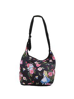05f56c256c Alice in Wonderland Floral Tossed Crossbody Hobo BagAlice in Wonderland  Floral Tossed Crossbody Hobo Bag