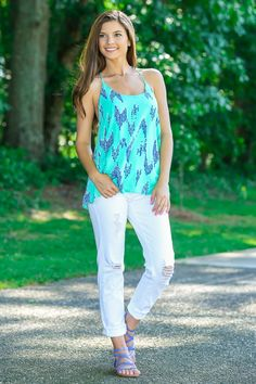 So in love with this beautiful mint tank- it is the perfect top for an effortless summer look!